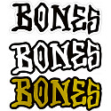 "BONES WHEELS 3"" BONES Sticker Singles - all 4"