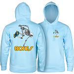 Powell Peralta Skateboarding Skeleton Midweight Hooded Sweatshirt - Blue Aqua