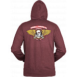 Powell-Peralta Winged Ripper Hooded Zip - Burgundy
