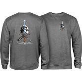 Powell Peralta Skull & Sword Midweight Crewneck Sweatshirt - Gunmetal Heather