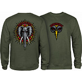 Powell Peralta Mike Vallely Elephant Midweight Crewneck Sweatshirt - Army