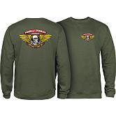 Powell Peralta Winged Ripper Midweight Crewneck Sweatshirt - Army
