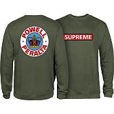 Powell Peralta Supreme Midweight Crewneck Sweatshirt - Army