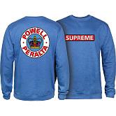 Powell Peralta Supreme Midweight Crewneck Sweatshirt - Royal Heather