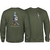 Powell Peralta Skull & Sword Midweight Crewneck Sweatshirt - Army
