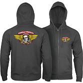 Powell Peralta Winged Ripper Hooded Zip Sweatshirt - Charcoal Heather