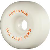 "Mini Logo Skateboard Wheels A-cut ""2"" 53mm 101A White 4pk"