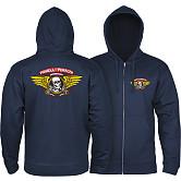 Powell Peralta Winged Ripper Zip Hooded Sweatshirt Navy