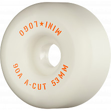 "Mini Logo Skateboard Wheels A-cut ""2"" 53mm 90A White 4pk"