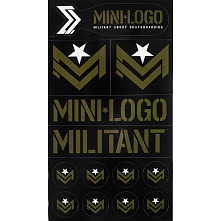 "Mini Logo Sticker MILITANT ""2"" Green/Black Font single sticker"