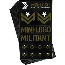 "Mini Logo Sticker MILITANT ""2"" Green/Black Font 10pk"