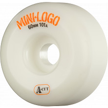 Mini Logo Skateboard Wheels A-cut 60mm 101A White 4pk