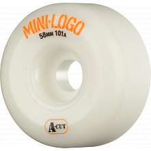 Mini Logo Skateboard Wheels A-cut 58mm 101A White 4pk
