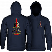 Powell Peralta Skull & Sword Hooded Sweatshirt Mid Weight Navy W/Red