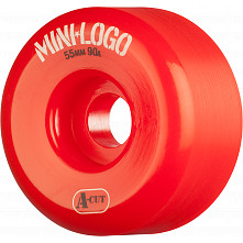 Mini Logo Skateboard Wheels A-cut 55mm 90A Red 4pk