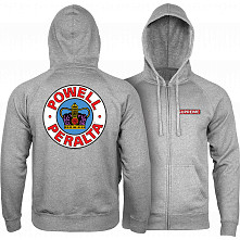 Powell Peralta Supreme Hooded Zip Sweatshirt - Gunmetal Heather