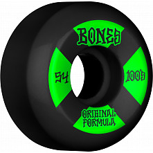 BONES WHEELS OG Formula Skateboard Wheels 100 #4 54mm V5 Sidecut 4pk Black