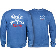 Powell Peralta Rat Bones Midweight Crewneck Sweatshirt - Royal Heather