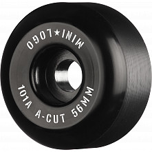 "Mini Logo Skateboard Wheels A-cut ""2"" 56mm 101A Black 4pk"