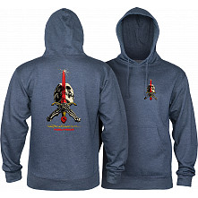 Powell Peralta Skull & Sword Hooded Sweatshirt Mid Weight Navy Heather W/ Red
