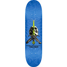 Powell Peralta Rodriguez Skull and Sword Skateboard Blem Deck Blue - Shape 242 - 8 x 31.45