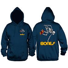 Powell Peralta Classic Skateboarding Skeleton Lightweight Hooded Sweatshirt Navy