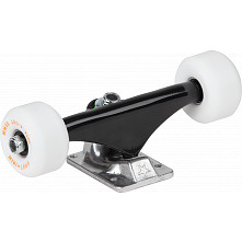 "Mini Logo 7.63"" Split Black/Raw Trucks + ML Bearings + A-cut 53mm 90a White Wheels (Set of 2)"
