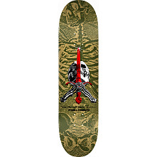 Powell Peralta Skull and Sword Skateboard Deck Olive - Shape 248 - 8.25 x 31.95