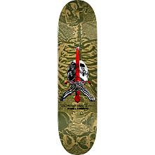 Powell Peralta Skull and Sword Skateboard Deck Olive - Shape 248 - 8.25 x 31.95