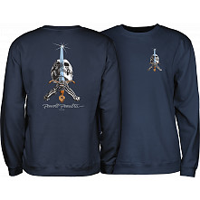 Powell Peralta Skull & Sword Crew Sweatshirt Mid Weight Navy