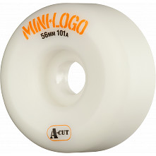 Mini Logo Skateboard Wheels A-cut 56mm 101A White 4pk