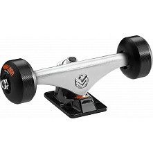 "Mini Logo Truck Assembly - 7.63"" Split Silver/Black - ML Bearings - 53mm 90a Black Wheels"