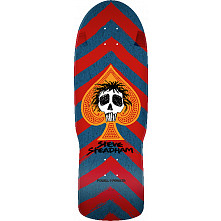 Powell Peralta Steadham Skull and Spade Skateboard Deck Red/Blue - 10 x 30.125