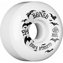 BONES WHEELS STF Bats Skateboard Wheels 54mm 99a Easy Streets V5 Sidecuts 4pk White