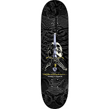 Powell Peralta Rodriguez Skull and Sword Skateboard Grey/Black - 8.75 x 33.25