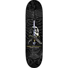 Powell Peralta Rodriguez Skull and Sword Skateboard Deck Grey/Black - Shape 245 - 8.75 x 32.95