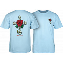 Powell Peralta T-shirt Rose Cross Blue