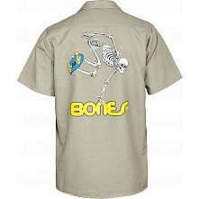 Powell Peralta Skateboarding Skeleton Work Shirt - Khaki