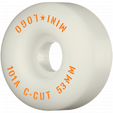 "Mini Logo Skateboard Wheels C-cut ""2"" 53mm 101A White 4pk"
