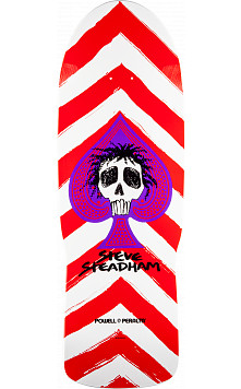 Powell Peralta Steadham Skull and Spade Skateboard Deck red/wht - 10 x 30.125