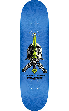 Powell Peralta Rodriguez Skull and Sword Skateboard Deck Blue - Shape 242 - 8 x 31.45