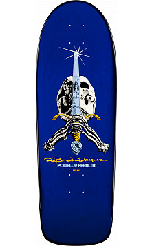 Powell Peralta Ray Bones Skull and Sword Blue Deck - 10 x 30