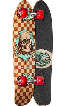 Powell Peralta Sidewalk Surfer Checker Ripper Natural Cruiser Complete Skateboard - 7.75 x 27.20 WB 14.0