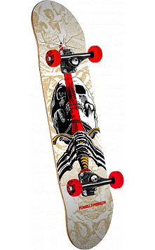 "Powell Peralta Skull and Sword One Off '15"" Complete Skateboard White - 7.5 x 28.65"