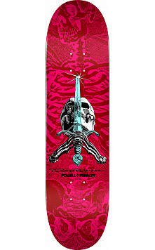 Powell Peralta Skull and Sword Skateboard Deck Red/Pink - Shape 249 - 8.5 x 32.08