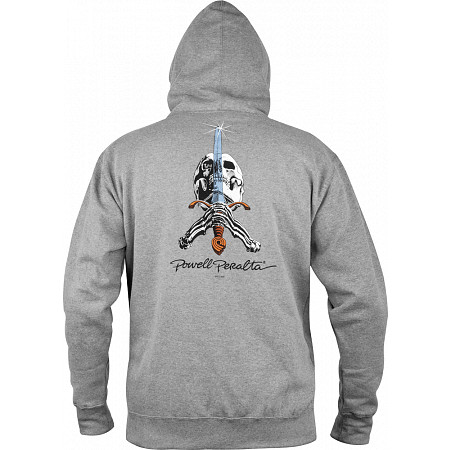 Powell-Peralta Skull & Sword Hooded Pullover - Gray
