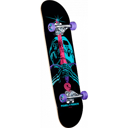 "Powell Peralta Blacklight Skull and Sword Purple 7.88"" Complete"