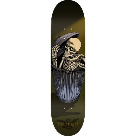 Powell Peralta Garbage Can Skelly Blem Skateboard Deck Olive - 8.5 x 32.08