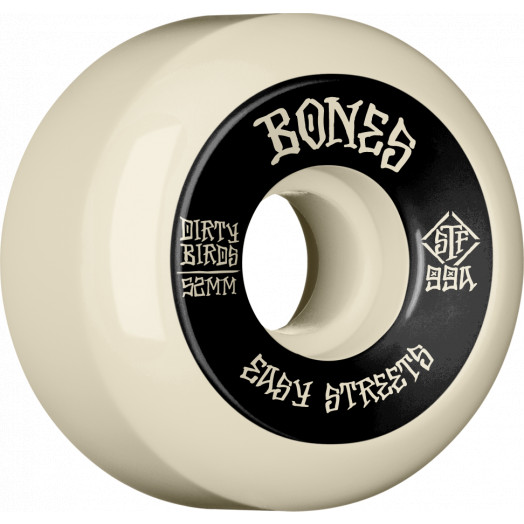 BONES WHEELS STF Easy Streets Dirty Birds Skateboard Wheels V5 Sidecuts 52mm 99A 4pk Natural