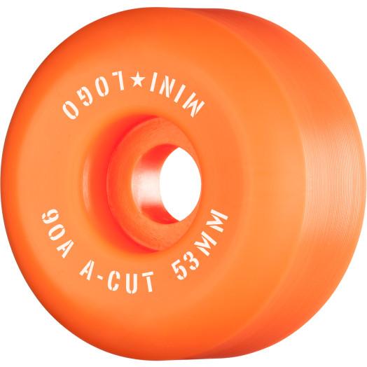 "Mini Logo Skateboard Wheels A-cut ""2"" 53mm 90A Orange 4pk"